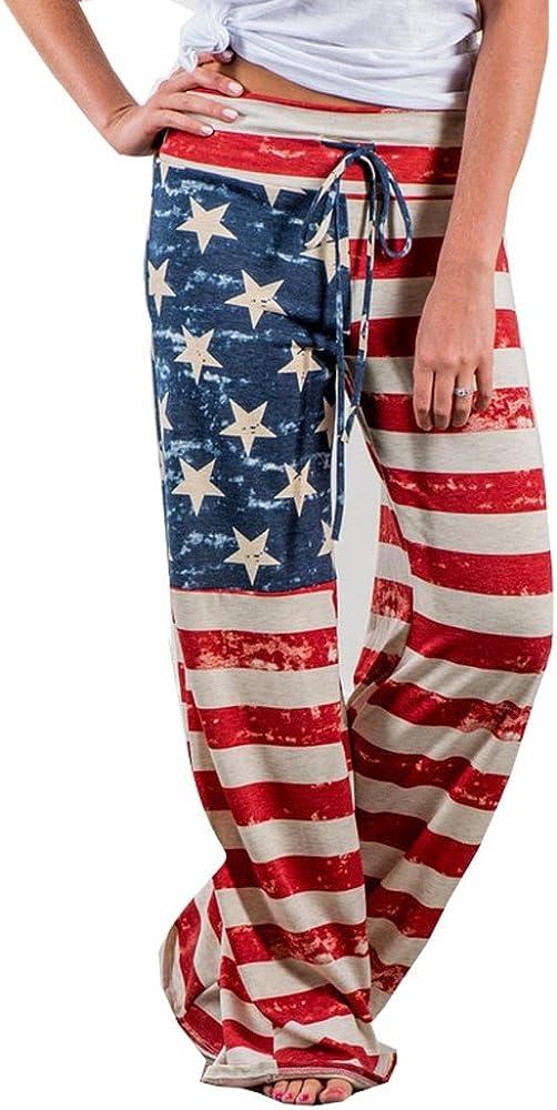 F_Gotal Women's Casual Pajama Pants Cute Cat Print Drawstring Comfy Palazzo Lounge Pants Wide Leg Athletic Gym Sweatpant