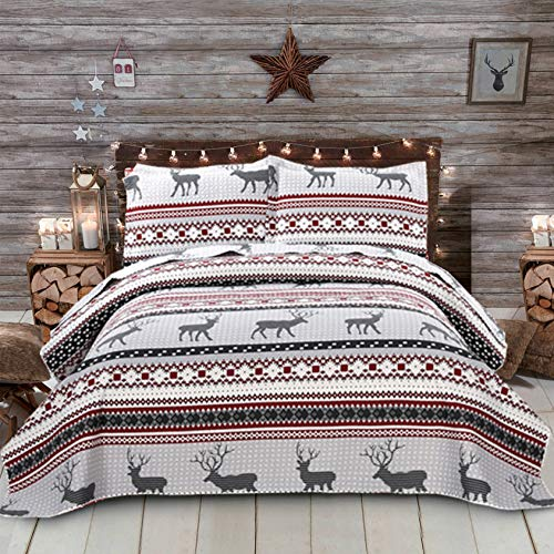 Oliven Christmas Deer Bedding Quilt Set Queen/Full Size Boho Reindeer Stripe Xmas Bedspread Thin Lightweight Blanket Coverlet Set with 2 Queen Pillow Shams-Red Gray White