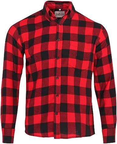 ZenRetro Hombre Camisa Estilo leñador Grunge 100% algodón