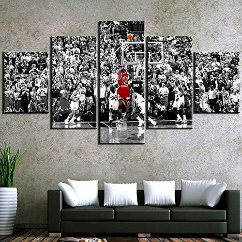 hgjfg Leinwanddrucke Leinwandbilder XXL 5 Teilig 5 Stück Leinwand Moderne Hd Vintage Jordan Basketball Spiel Wandkunst Kunstwerk Gerahmte Bilder Home Living Room Decor