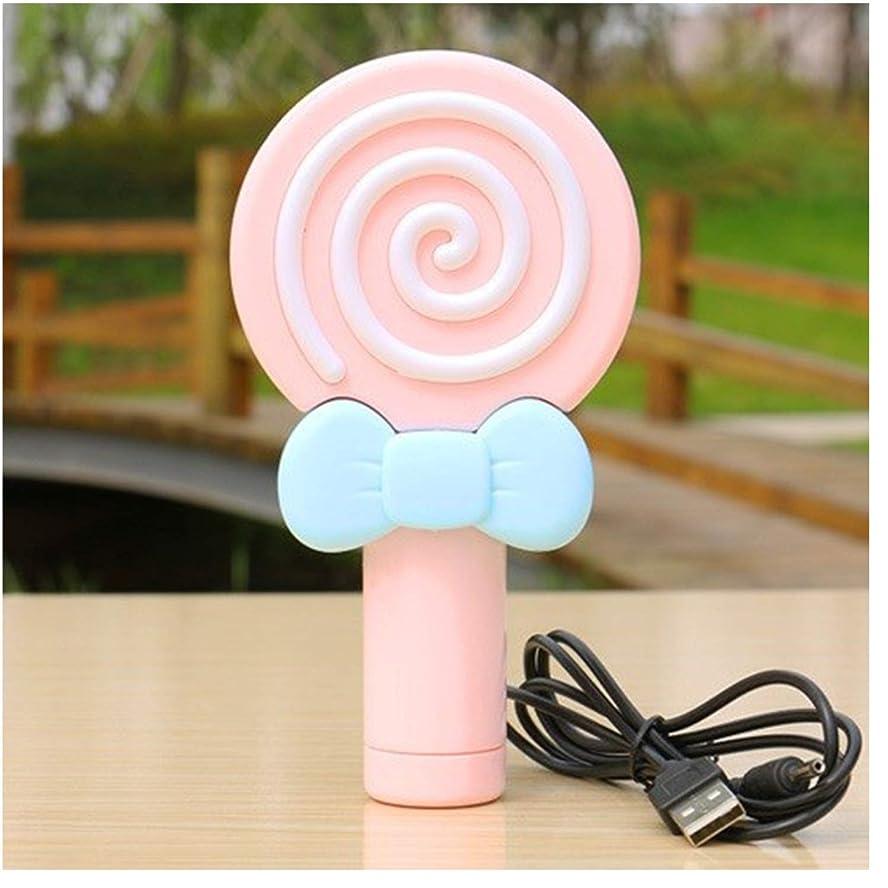 中毒許されるからかう小型ファン 甘いロリポップミニファンUsbハンドヘルドポータブルラウンド扇風機屋外ワンギア冷却個人ファン (Color : Pink)