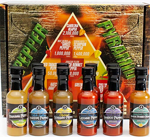 Hot Sauce Gift Set Pepper Challenge - 10 Sauces, From 10 Hot Peppers, the Hottest Carolina Reaper, 2...