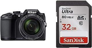 Nikon COOLPIX B500 - Cámara Digital de 16 MP (4608 x 3456 Pixeles TTL 1/2.3 4-160 mm) Color Negro + SanDisk SDSDUNC-032G-GN6IN Ultra Tarjeta de Memoria SDHC de 32 GB (hasta 80 MB/s Clase 10)