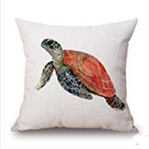 LYNZYM Cotton Linen Square Throw Pillow Case Decorative Cushion Cover Pillowcover for Sofa 18X 18 Octopus Tortoise Aquatic Creatures Throw Pillow Covers (5)