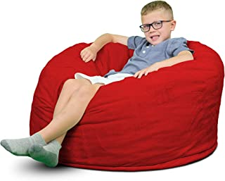 ULTIMATE SACK Bean Bag Chairs in Multiple Sizes and Colors: Giant Foam-Filled Furniture - Machine Washable Covers, Double Stitched Seams, Durable Inner Liner. (3000, Red Suede)