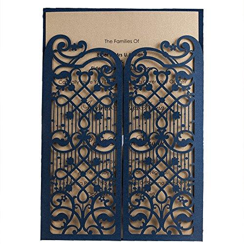 50 WISHMADE Azul Elegante Compromiso de boda con corte láser, Invitación de doblez de la puerta Kits de tarjetas, para despedida de soltera Fiesta de Quinceañera con sobre CW5102