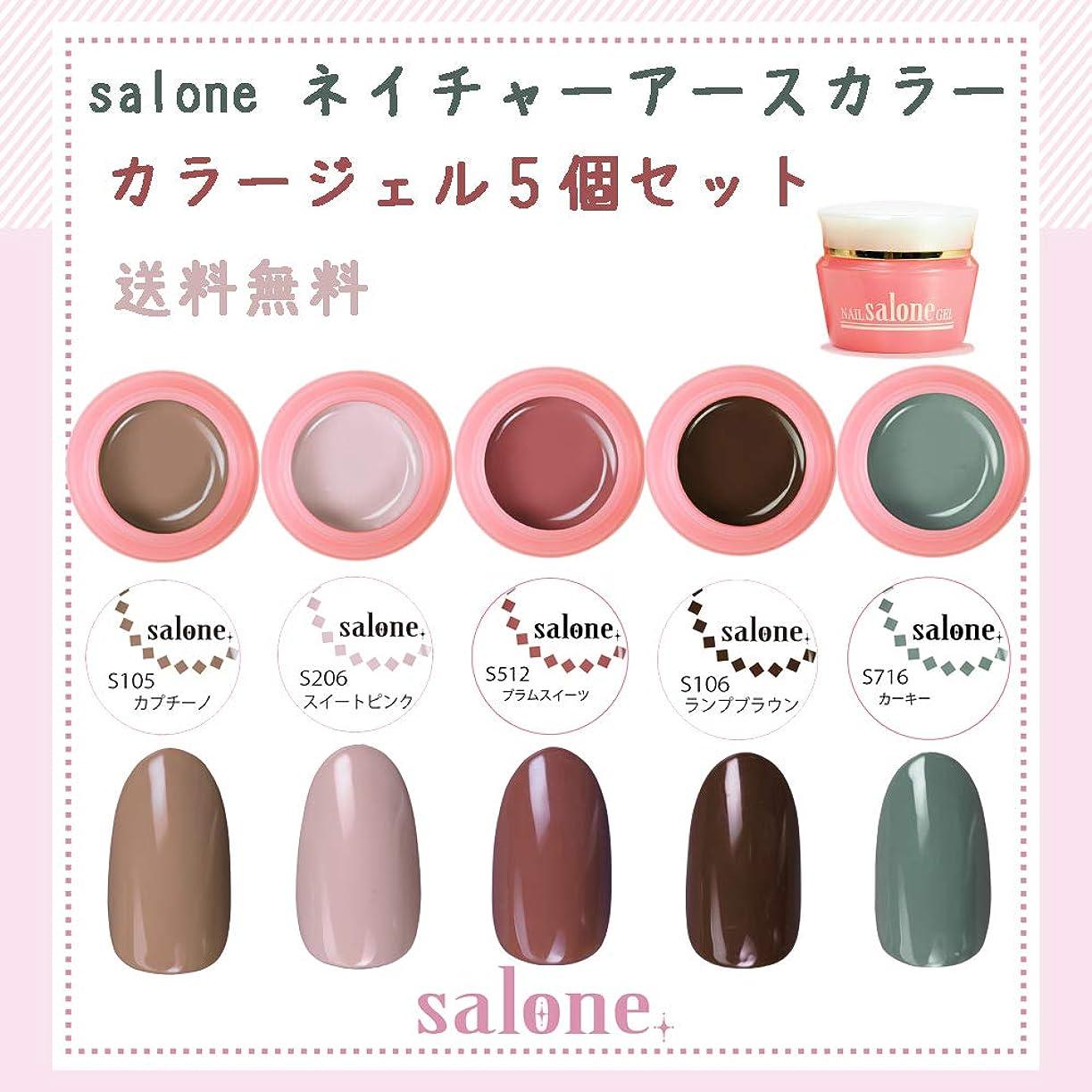 ベンチャー発言する遺跡【送料無料 日本製】Salone ネイチャーアースカラー カラージェル5個セット ボタニカルでネイチャーなカラーをチョイスしました。