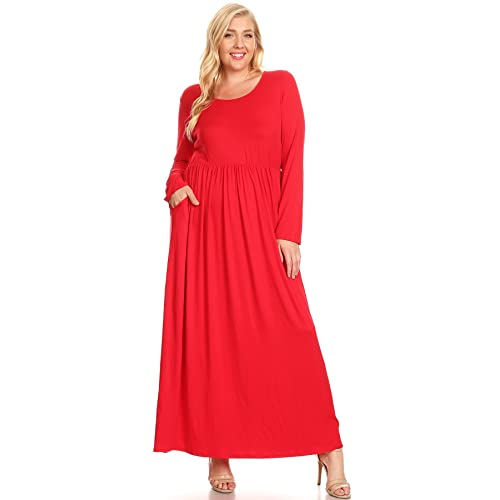 041fd0d496d Modern Kiwi Women s Plus Size Basic Times Long Sleeve Shirring Pocket Maxi  Dress with Side Pockets