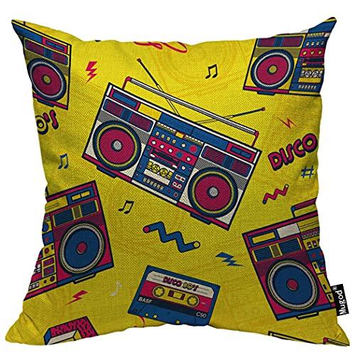 Almohada de Estampado, Almohada Pattern, Funda de cojín Throw Pillow para Cama sofá Sala de Estar Dormitorio,Radio Retro Pop 80S Boombox Radio Notas Musicales Old Disco Tape