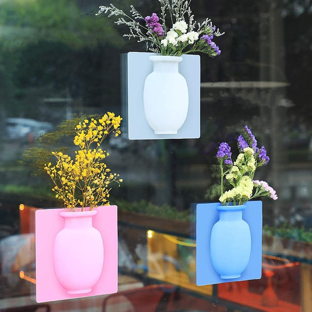 3Pcs Removable Silicone Flower Vase,Magic Silicone Vase Self-Adhesive,Reusable Hanging Vase Stick on The Wall,for Bathroom Office Party Decor (Blue+White+Pink)