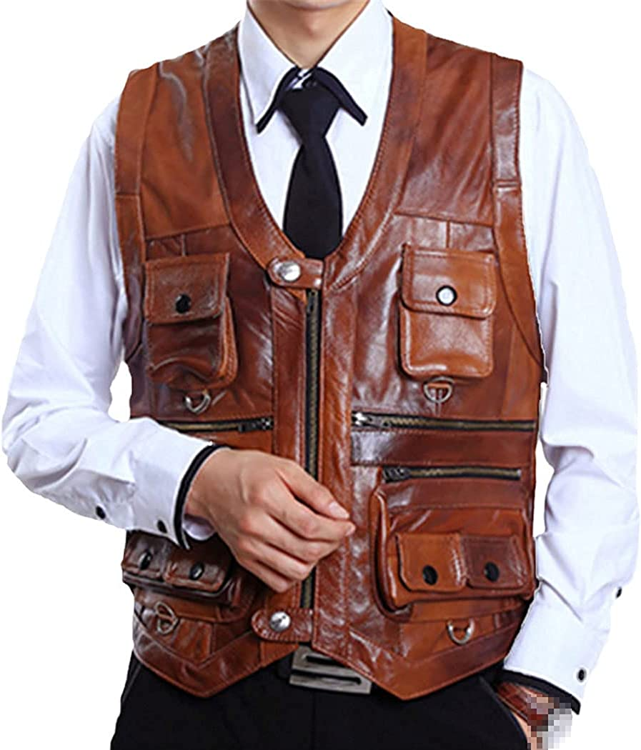 Men Genuine Leather Vest Brown, Multi Pocket Zipper Waistcoat, Thick Motorcycle Plus Size Sleeveless Jacket Vest