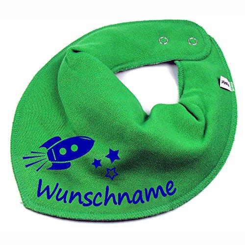 Elefantasie Elefantasie HALSTUCH Rakete mit Namen oder Text personalisiert grün für Baby oder Kind