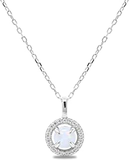 925 Sterling Silver 925 Round Synthetic Opal Halo Cubic Zirconia Pendant Necklace, 18
