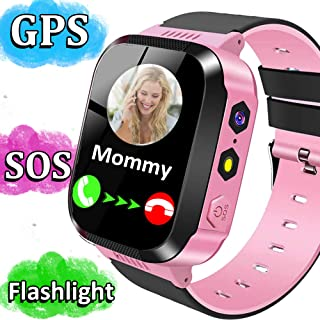 MiKin Kids Smart Phone Watch for Girls Boys GPS Tracker Smartwatch with Two Way Call Camera Puzzle Game Alarm Clock SOS Voice Chat LED Flashlight 1.44