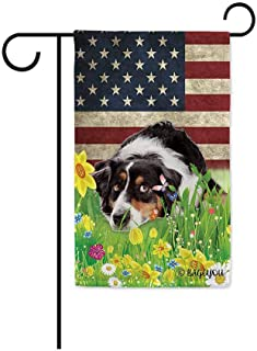 BAGEYOU Cute Puppy Australian Shepherd Garden Flag Lovely Pet Dog American US Flag Wildflowers Floral Grass Spring Summer ...