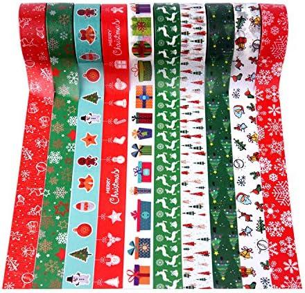 MIAHART 20 Rolls Christmas Washi Tape Set Xmas Masking Tape Decorative Holiday Washi Tape Gift product image