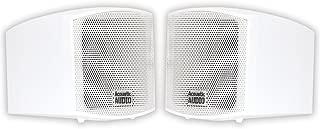 Acoustic Audio AA321W Mountable Indoor Speakers 400 Watts White Bookshelf Pair