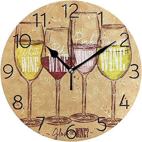 Cy-ril Horloge Murale à vin Vintage Horloge Murale Ronde silencieuse fonctionnant sur Batterie