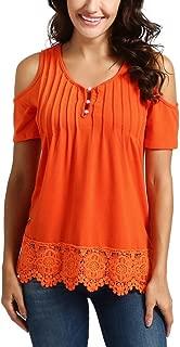 Casual V Neck Tops Lace Short Sleeve Shirt Cold Shoulder Blouse for Women