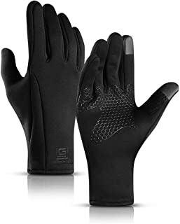 TAESOUW-Accessories Sports Waterproof Gloves for Men and Women Winter Outdoor Riding Touch Screen Warm Gloves Plus Velvet Ski Full Finger Climbing (Color : Black, Size : M)
