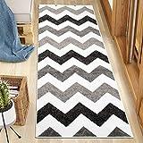 Carpeto Rugs Teppich Läufer Flur - Modern Teppichläufer – Kurzflor, Weich - für Küche Vorzimmer Eingangsbereich Schlafzimmer - Meterware 80 cm Breit - Schwarz - Weiß 80 x 500 cm