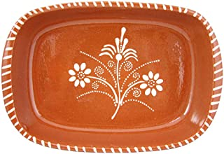 Vintage Portuguese Traditional Clay Terracotta Pottery Roasting Tray Made In Portugal Cazuela (N.1 11 5/8 x 7 1/2 x 2 1/8
