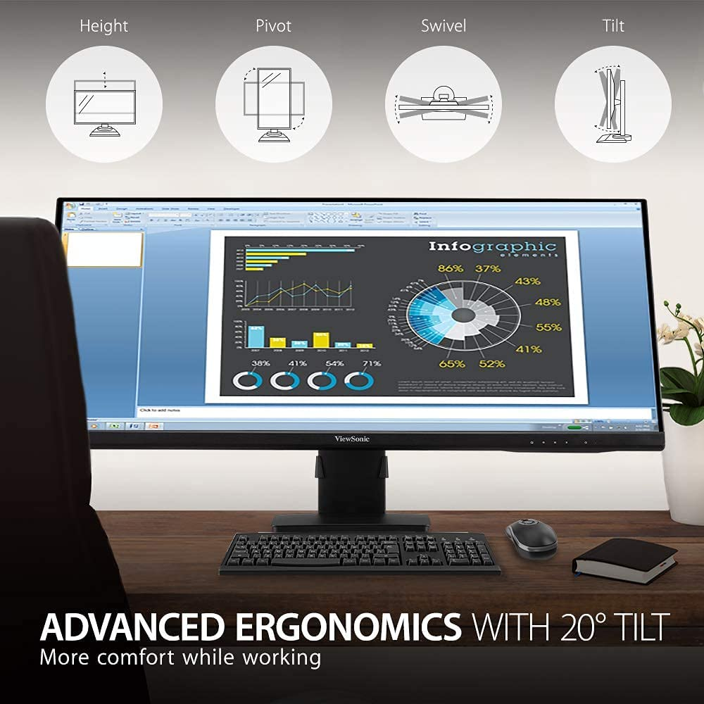 ViewSonic VA3456-MHDJ 34 Inch 21:9 UltraWide WQHD 1440p Monitor Frameless IPS with Ergonomics Design HDMI and DisplayPort Inputs for Home and Office (Renewed)