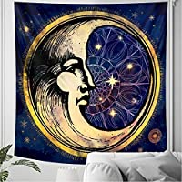 黒と白の月のタペストリーの装飾壁掛け寝室シーンスターライトアート家の装飾