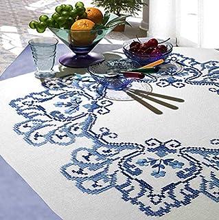 Kamaca Stickpackung Tischdecke Klassische Blumen Kreuzstich vorgezeichnet aus Baumwolle Stickset mit Stickvorlage Mitteldecke 80x80 cm