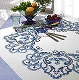 Kamaca - Set per ricamo a punto croce, tovaglia con motivo fiori classici, in cotone