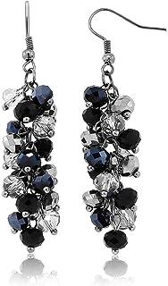 Swing Earrings Black Silver Dangle Earrings Dangle Drop Pierced Earrings Black /& Silver Lampwork Swirl Glass Beads SP Bead Caps Elegant