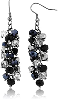 2inches Black and Silver Cluster Faceted Crystal Dangle Hook Earrings For Women