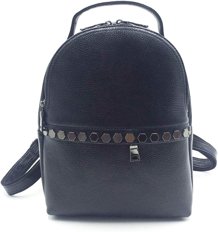Womens Genuine Cowhide Leather Backpack Metal Zipper Style Knapsack