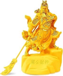 仏像 置物 戦士関ユン・チャン置物三国志の英雄仏ポーチ飾り、ゴールドファイティングフォーチュン関公彫刻樹脂関ディ中国の関羽像神 インテリアグッズ