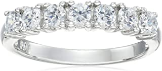 Platinum-Plated .925 Sterling Silver Seven-Stone Cubic Zirconia Classic Prong-Set Wedding or Anniversary Ring