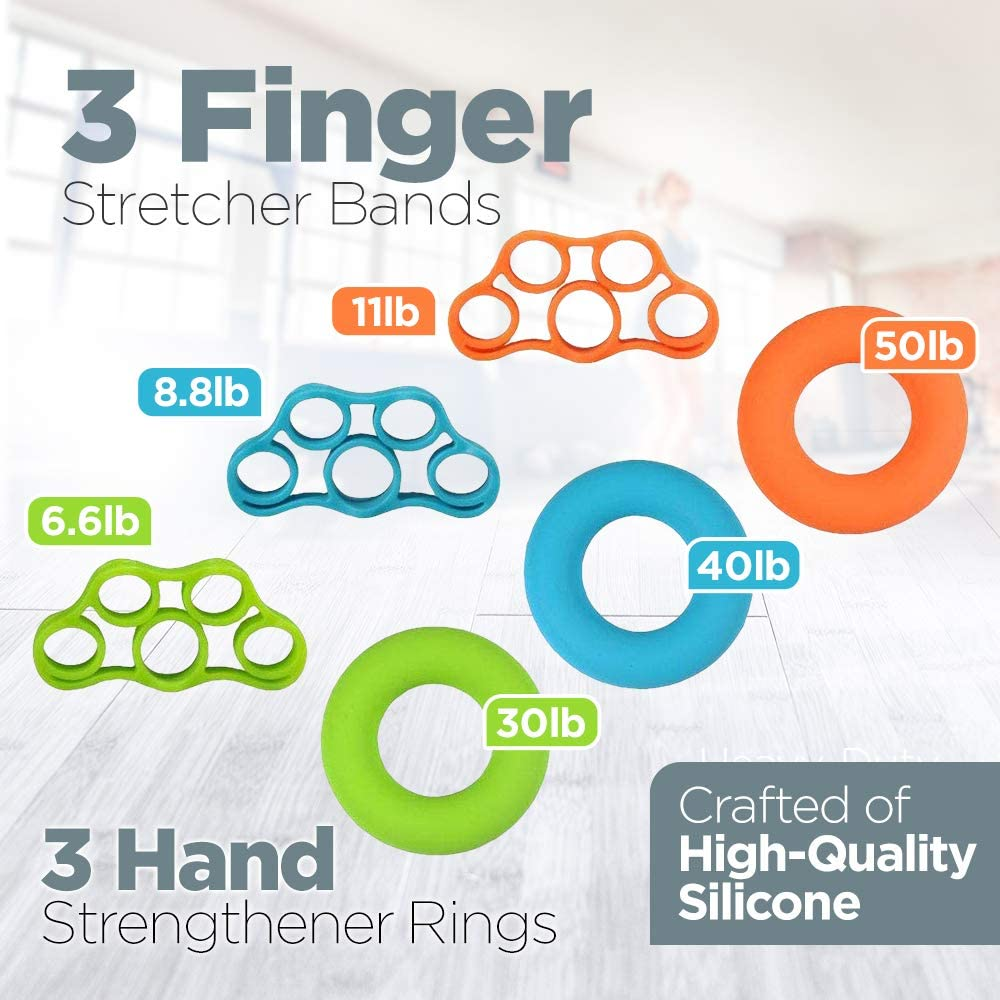 Finger Stretchers Hand Grip Strengthener Set Forearm Adjustable Resistance Hand Gripper Stress Relief Grip Ball Hand Therapy Grip Rings Hand Exerciser Finger Hand Strengthener Finger Exerciser