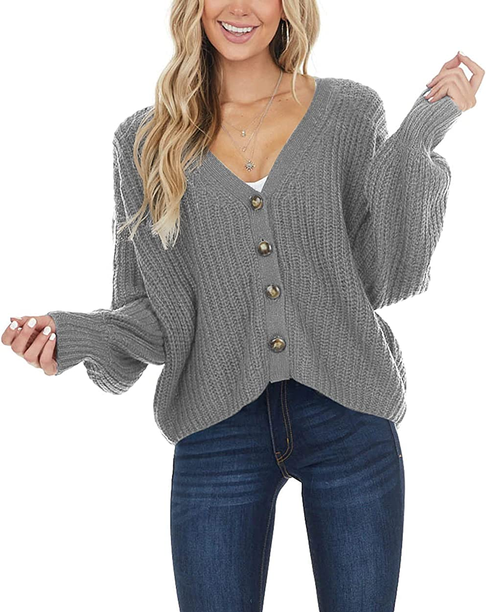 LAMISSCHE Womens Long Max 72% OFF Sleeve Button Down Sweater Cardigan low-pricing Casual