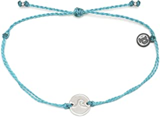 Silver or Gold Wave Coin Bracelet w/Plated Charm - Adjustable Band, 100% Waterproof - Pacific Blue