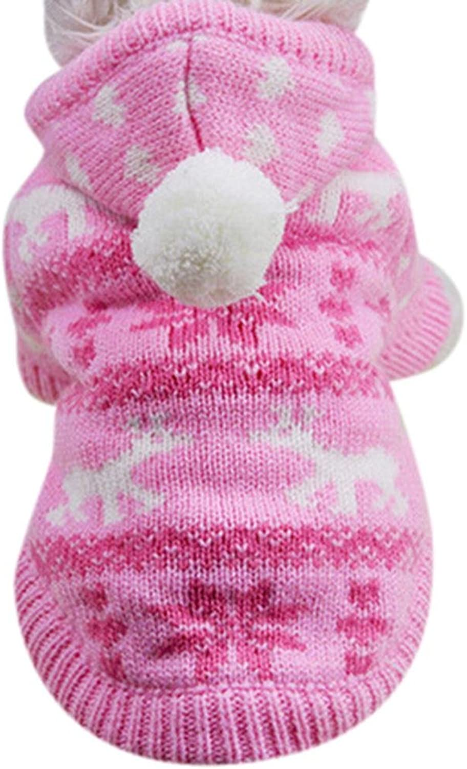 (Medium, Pink)  Mikey Store Knit Dog Hoodie Sweater Puppy Coat Clothes Small Warm Costume