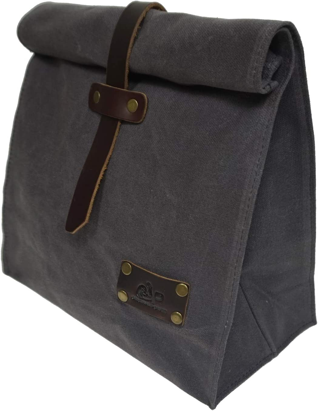 Waxed Canvas Lunch Bags, Reusable Lunch Box, Large Plastic-Free Washable Picnic Storage Bag (Grey)