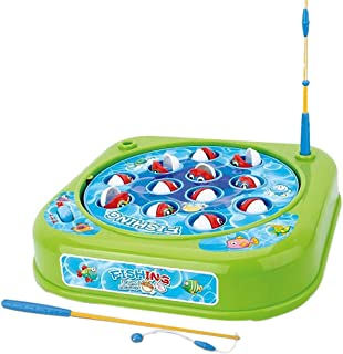 Fishing Game Toy Set with Single-Layer Rotating Board | Now with Music On/Off Switch for Quiet Play | Includes 12 Fish and 2 Fishing Poles | Safe and Durable Gift for Toddlers and Kids (Green)