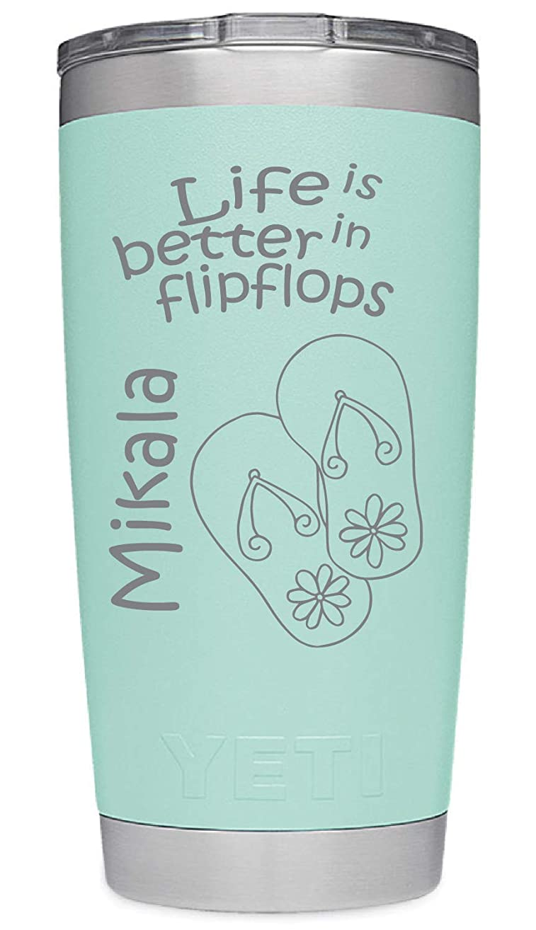 YETI Rambler Custom Engraved Flipflop Beach Design w/Name - Available in your choice of YETI Duracoat Colors NOT A STICKER