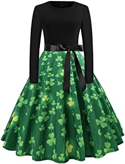 "ODRD-St. Patrick""s Day Damen Shamrock Abend Print Party Prom Swing Dress"