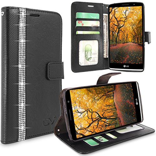 LG G Stylo Case, LS770 Case, Cellularvilla [Stand Feature] Flower Texture Wallet Case [Diamond Jewel] Premium Pu Leather Flip Cover [Card Slots] For LG G Stylo / LG G Stylus LS770 (Black Bling)
