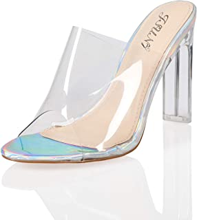 JSUN7 Women's Fashion Clear Instep Open Pointed Toe Summer Stiletto High Heel Sandal Pump Shoe Party Prom Shoe