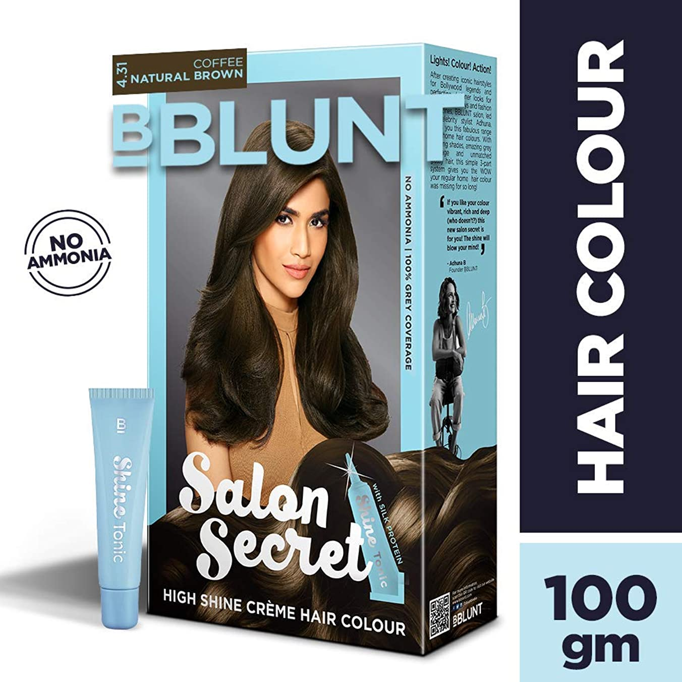 処方する手数料コレクションBBLUNT Salon Secret High Shine Creme Hair Colour, Coffee Natural Brown 4.31, 100g with Shine Tonic, 8ml
