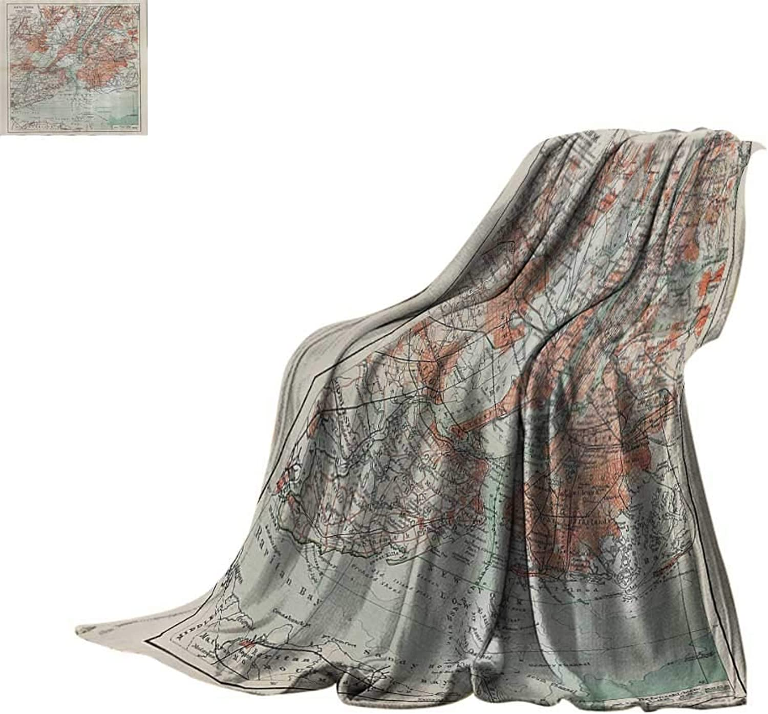 Lightweight Blanket NYC Decor Collection,New York Old Map from The End of 19th Century Antiques History Historical Symbol,Coral Green Beige Print Summer Quilt Comforter Bed or Couch 60 x35