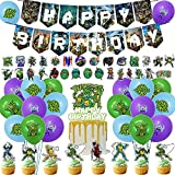 100Pcs Teenage Mutant Ninja Turtles Party Supplies, Ninja Turtle Party Decoration for TMNT Birthday Party Includes Birthday Banner,Cake Cupcake Toppers,Ninja Turtle Stickers for Boys and Girls