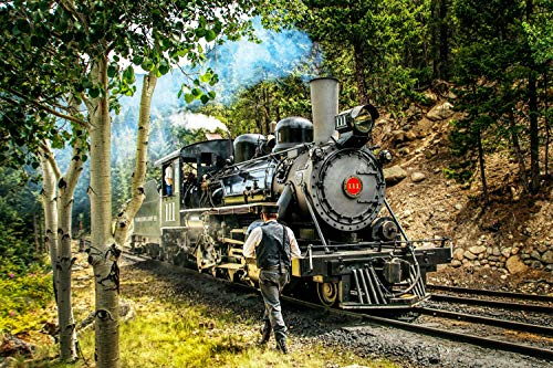 1000 Piece Jigsaw Puzzle, Material, Adults and Kids, Vintage Train Engine, Comes with Poster, Puzzle Size 27.5 in x 19.6 in by Mobius01