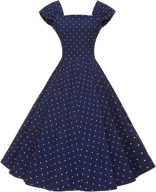 GownTown Women Cap Sleeve Aline 1950s Swing Dress